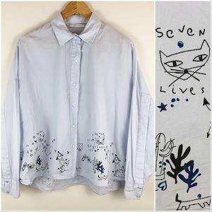 Zara Trafaluc Oversized Button Up Shirt Cat Doodle